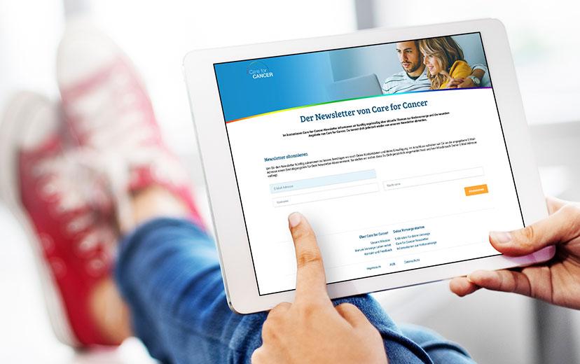 Der kostenlose Care for Cancer-Newsletter bietet aktuelle Informationen zur Krebsvorsorge und zu den neuesten Angeboten von Care for Cancer.
